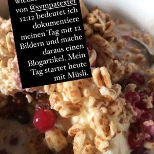 Müsli mit Obst, Bild mit Text 12 von 12 Blogtration
